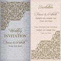 Baroque wedding invitation patina gold on beige and gray background Stock Photos