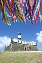 Barra salvador brazil lighthouse wish ribbons Stock Afbeeldingen