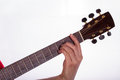 Barre chord the picture shows how to play a major with the th string root Stock Image