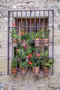 Barred window with in Pedraza Spain