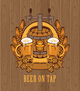 Barrel of beer banner with a and two glasses on the background wooden boards Stock Photos