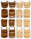 Barrel bucket pail tub wood Stock Image
