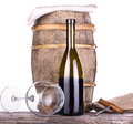 Barrel with corkscrew and wine glass wooden vintage isolated on a white background Stock Images
