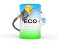 Barrel with ECO fuel and gas pump nozzle Stock Image