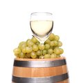 Barrel glass of wine and ripe grapes on wooden a white background Royalty Free Stock Photo