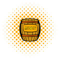 Barrel with honey icon, comics style