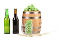 Barrel mug with barley hop and bottle of beer. Royalty Free Stock Photo