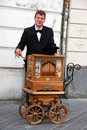 Barrel organ player Royalty Free Stock Images