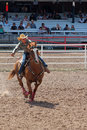 Barrel racing cheyenne frontier days rodeo since has celebrated its old west roots with this eye popping festival the centerpiece Royalty Free Stock Image