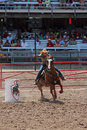 Barrel racing cheyenne frontier days rodeo since has celebrated its old west roots with this eye popping festival the centerpiece Stock Image