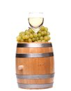 Barrel ripe grapes and glass of wine see my other works in portfolio Stock Photo