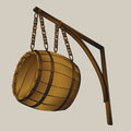 Barrel suspended on chains illustration for wine go beer as the advertising sign Royalty Free Stock Image
