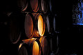 Barrel of wine in winery. Royalty Free Stock Photo