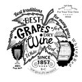 Barrel and wineglass near grapes leaf with lettering best grapes wine label on white Royalty Free Stock Photos