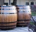 Two wooden barrels for beer in street Royalty Free Stock Photo