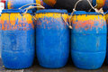 Barrels of oil tank fishing boat Stock Photography