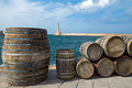 Barrels in the port of Chania Royalty Free Stock Photo