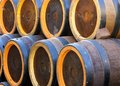 Barrels to contain the spirits like brandy or wine cellar Stock Photography