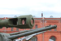 Barrels of various artillery systems on territory of museum in cloudy weather closeup