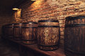 Barrels in the wine cellar Royalty Free Stock Photo