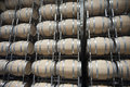 Barrels in wine cellar new a very modern Royalty Free Stock Images