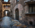 Barri gothic quarter and bridge of sighs in barcelona catalonia spain Stock Images