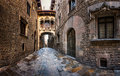 Barri gothic quarter and bridge of sighs in barcelona catalonia spain Royalty Free Stock Photo