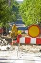 Barricada en el sitio del camino de la construcción Imagen de archivo