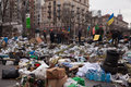 Barricades at euromaidan in kiev ukraine Royalty Free Stock Photo