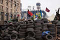 Barricades at euromaidan in kiev ukrainian protests ukraine Royalty Free Stock Photo