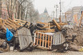 Barricades in the streets of kiev ukraine dec mass protest against pro russian course cabinet ministers barricade protesters Stock Photos