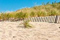 Barrier beach erosion fence Royalty Free Stock Photo