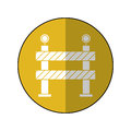 Barrier restricted street stripe design yellow circle shadow Royalty Free Stock Photo