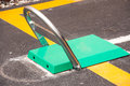 Barrier steel blocking on the road Royalty Free Stock Photo