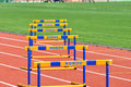 Barriers on the path photo was taken during junior team of ukrainian championship in athletics between countries ukraine turkey Stock Images