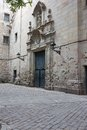 Barrio gotico ancient streets of gotic quarter in barcelona spain Royalty Free Stock Image
