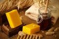 Bars of honey soap Royalty Free Stock Photo