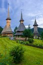 Barsana monastery maramures wooden buildings at complex region the northern part of the country made by timber wood Stock Images
