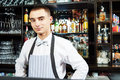 Bartender at bar portrait of young barman worker desk in restaurant Royalty Free Stock Images