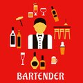 Bartender with cocktails profession flat concept bar counter alcohol bottles shaker corkscrew beer tankard wine glass and male in Royalty Free Stock Photos