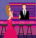 Bartender gives drinks a beautiful woman illustration Royalty Free Stock Photo
