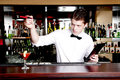 Bartender waiting an order young handsome Royalty Free Stock Image