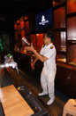Bartender the was mixing drinks at a hotel bar in the city of solo central java indonesia Royalty Free Stock Images