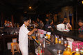 Bartender the was mixing drinks at a hotel bar in the city of solo central java indonesia Stock Image