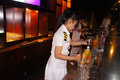 Bartender the was mixing drinks at a hotel bar in the city of solo central java indonesia Royalty Free Stock Photography