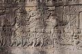 Bas relief of bayon temple cambodia in the angkor area near siem reap Royalty Free Stock Image