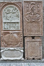 Bas relief closeup in st peter collegiate church salzburg austria ancient on the wall of Stock Image