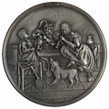 Bas relief dancing lesson metal on the story by dutch painter jan havickszoon steen isolated on white background Stock Photos