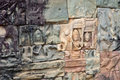 Bas reliefs at the Terrace of Elephants in Angkor Stock Photography