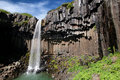 Basalt background_Svartifoss Wasserfall Lizenzfreie Stockfotos